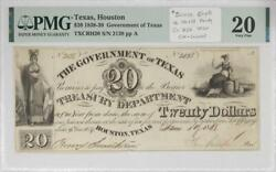 Texas Houston 1838-39 20 Government Of Texas Note Pmg Vf20 Eagle On Shield Tx