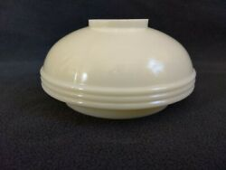 Vintage Ribbed Off White cream Glass Oil Lamp Shade 5 1 4quot; Wide 2 3 4quot; Tall