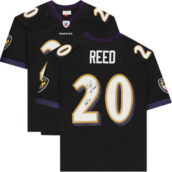 Ed Reed Baltimore Ravens Signed Black Mitchell And Ness Replica Jersey With Hof19