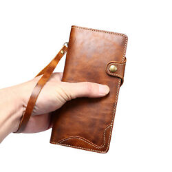 Vintage Real Leather Flip Wallet Book Case Cover F Samsung S20 S21 Note 20 Ultra