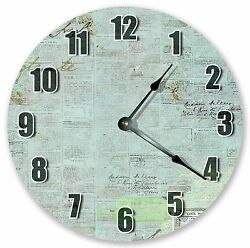10.5 Old Papers And Stamps Clock Large 10.5 Wall Clock Home Dandeacutecor Clock - 3097