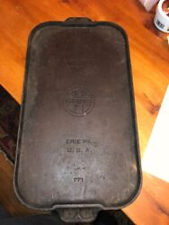 Wow - Vintage Griswold Cast Iron 8 Griddle Pan Erie Pa No. 771 - 18andrdquo X 10andrdquo