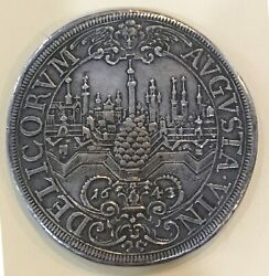 1643 Ngc Germany- Augsburg City View Thaler, Rare Beautiful Coin