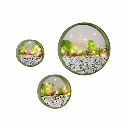 Modern Round Glass Wall Planter 3 Pack Set Wall Planters with LED Light Str...