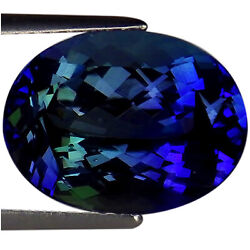 7.17 Ct Igi Certified Aaa Natural D Block Tanzanite Violet Green Oval Cut