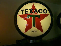 Gas Pump Globe Texaco, 2 Glass Lenses In A Plastic Body And Lamp Stand, New
