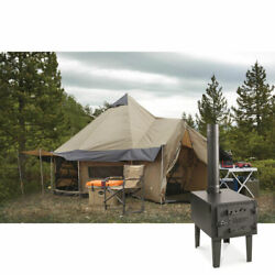 Large 14' Base Camp Outfitter Tent Bundle With Wood Stove, Awnings, And Stove Jack