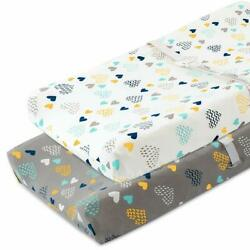 Cosmoplus Stretch Fitted Changing Pad Cover -2 Pack Stretchy Changing Table Pad