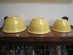 Vintage Set Of 3 Yellow Ring Ware Mixing Bowls Bauer Pottery 12 18 24