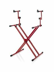 Gator Frameworks Deluxe Two Tier X Frame Keyboard Stand Bright Red Finish G...
