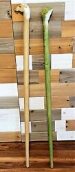 Wood Carved Horse And Frog Head Walking Cane Sticks
