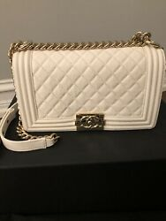 Chanel New Medium Boy Bag In White Caviar With Gold Hardware $5200.00