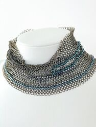 Authentic Silver Tone Metallic Choker Collar Necklace Beads France