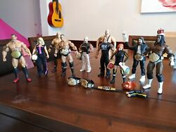 Wwe Action Figures Lot 11 With Accessories The Rock/edge/batista/becky...