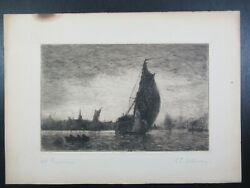 1800s Charles Edward Holloway Gravesend England Etching Pencil Signed Art