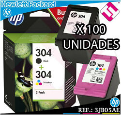 X 100 Units Pack Hp Ink Black Tricolour 304 Original Transfer / Currency