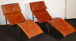 A Pair Of Tan Leather Skye Loungers By Tord Bjandoumlrklund For Ikea 1980s
