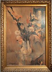 Gladiolus Summer Bouquet By The Window Original Oil On Wood By Margot