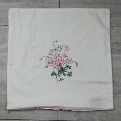 Vintage Embroidered Flowers 16x16 Ivory Pillow Cover Made In Usa