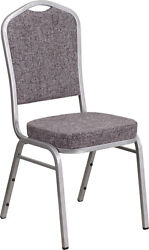 10 Pack Banquet Chair Herringbone Fabric Restaurant Chair Crown Back Stacking