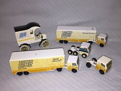 5 Pc Lot Ralstoy United Van Lines Semi-tractor Trailer Ford Cabover + Bank W/key