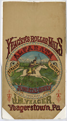 Antique Yeager Roller Mills Flour Bag, Native American, American West