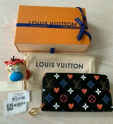 New Louis Vuitton Game On Black Red Heart Monogram Lv Zippy Wallet Coin Purse