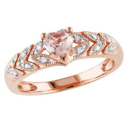 Heart Morganite And Natural Diamond Ring 14k Rose Gold Over 925 Sterling Silver