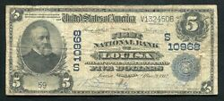 1902 5 The First National Bank Of Louisa Va National Currency Ch. 10968 Rare