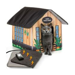 PETYELLA Heated cat Houses for Outdoor Cats in Winter Heated Outdoor cat Ho...