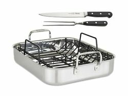 Viking Culinary 3-ply Roasting Pan W/ Rack And Carving Set , 16 X 13 X 3, St...