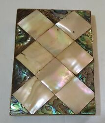 Mother Of Pearl And Abalone Shell Vintage Victorian Antique Card Case Box