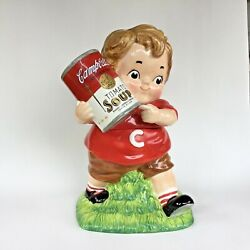 """Campbell's Soup Kid Cookie Jar 12"""" Tall With Can Of Tomato Soup Ceramic Red Boy"""