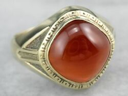 Late Deco Carnelian Green Gold Statement Ring