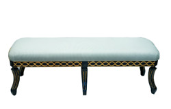 Lovely Minton Spidell Chinoiserie Lacquer Finish Upholstered Bench Mint Color