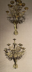 """Antique Pair Of 1880's Italian French Candelabra Wall Sconces Large 32"""""""