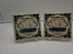 """Holland America Line Vintage Ceramic Tile Coasters Lot Of 2 4""""x4"""" Blue And Ivory"""