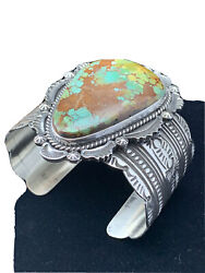 Nwot Mens Native Navajo Sterling Silver Spiderweb Turquoise Cuff Bracelet01806