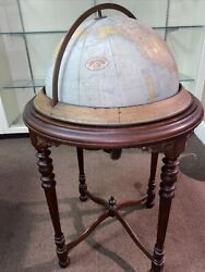 Antique 1940andrsquos Rand Mcnally And Co 18andrdquo Rotating Terrestrial Globe Mahogany Stand
