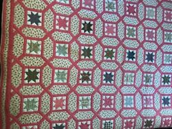 Vintage Quilt, Garden Maze With Evening Star Center, C. 1880, From Catskills, Ny