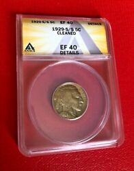 1929 S/s Buffalo Nickel Anacs Ef 40 Details Cleaned Rare