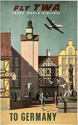 Original Vintage Poster Fly Twa To Germany Trans World Airline Travel Tourism Ol