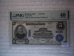 1902 5 Wellston Ohio Oh National Currency Plain Back 3565 Pmg 40 Xf Ms