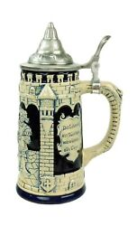Collectible German Castle Festive Engraved Cobalt Blue Beer Stein With Metal ...