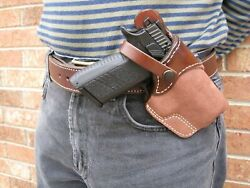 Usa Leather Lined Cross Draw Carry Safety Strap Holster Ccw For Choose Gun - 4