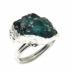 Emerald Rough Gemstone 925 Solid Sterling Silver Jewelry Ring Size Adjustable