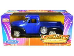 1953 Chevrolet 3100 Pickup Blue Low Rider 124 Diecast Car - Welly - 22087lrbl