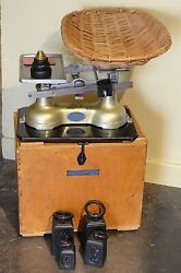 Vintage English Guardian Baby Scales 1930/40's Intact Weights And Carrying Box