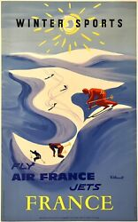Original Vintage Poster Fly Air France Jets Winter Sports French Travel Linen