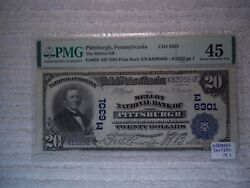 1902 20 Pittsburgh Pa National Currency Plain Back 6301 Mellon Pmg 45 Xf Ms